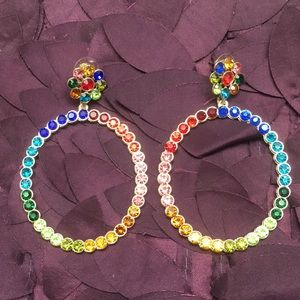 Jewelry - Colorful rhinestone bling earrings, every color🌈